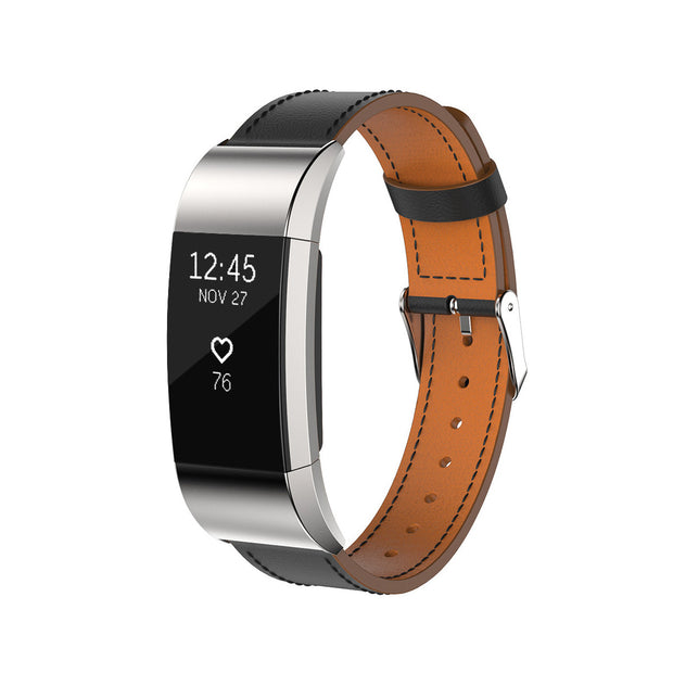 Mobile Mob Leather Fitbit Charge 2 Band Replacement Strap with Stainless Buckle Black