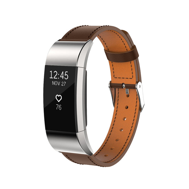 Mobile Mob Leather Fitbit Charge 2 Band Replacement Strap with Stainless Buckle Dark Brown