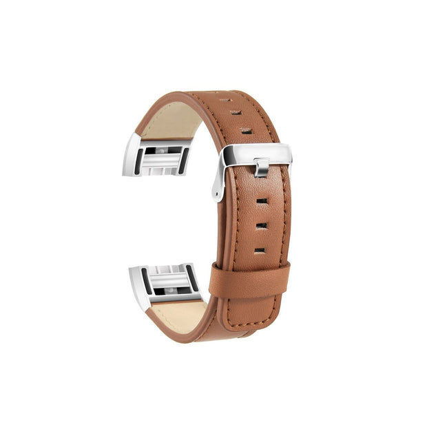 Mobile Mob Leather Fitbit Charge 2 Band Replacement Strap with Stainless Buckle Light Brown