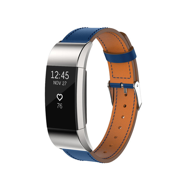 Mobile Mob Leather Fitbit Charge 2 Band Replacement Strap with Stainless Buckle Blue