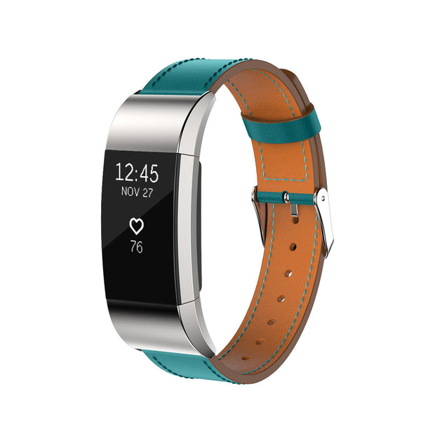 Mobile Mob Leather Fitbit Charge 2 Band Replacement Strap with Stainless Buckle Teal