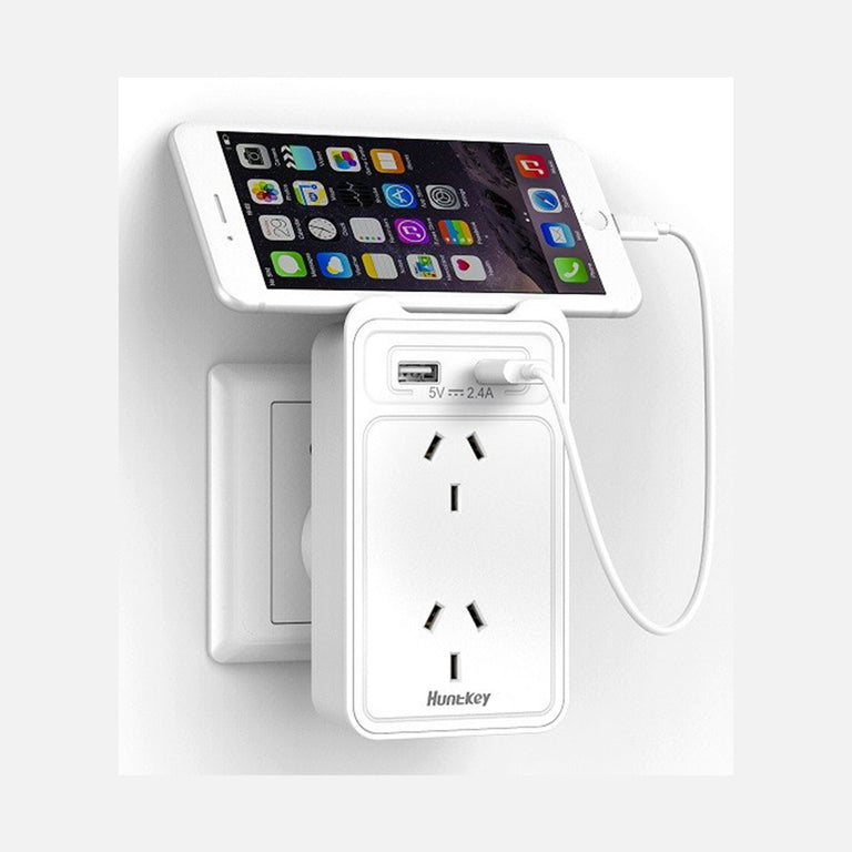 Huntkey 2 Socket Wall Adapter Outlet with 2 USB Charging Ports