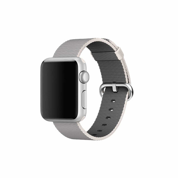 Mobile Mob Apple Watch Woven Nylon Band Replacement Straps 38MM/40MM / Grey & White