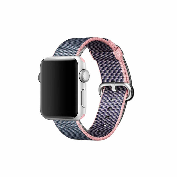 Mobile Mob Apple Watch Woven Nylon Band Replacement Straps 38MM/40MM / Blue & Pink