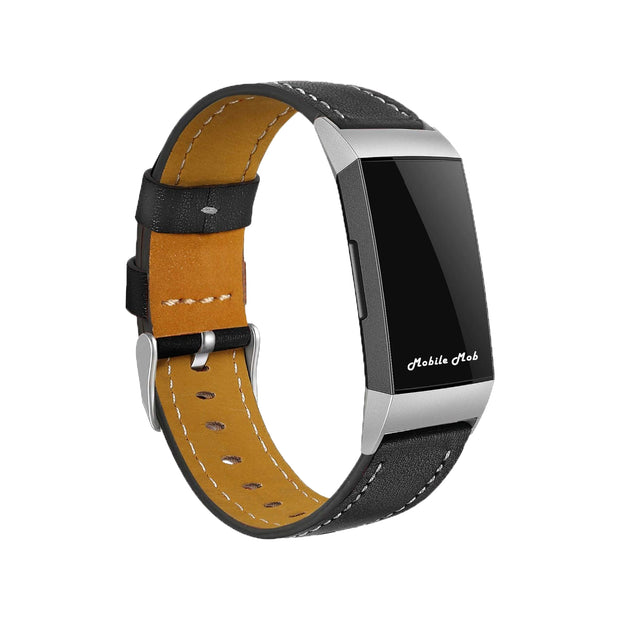 Mobile Mob Leather Fitbit Charge 3 Band Replacement Strap with Stainless Buckle Black