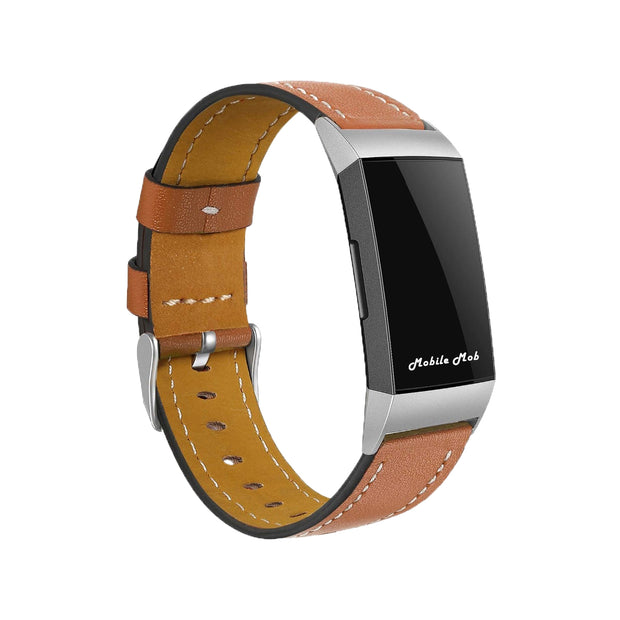 Mobile Mob Leather Fitbit Charge 3 Band Replacement Strap with Stainless Buckle Light Brown