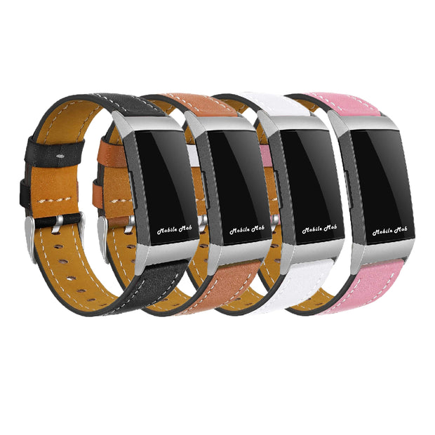 Mobile Mob Leather Fitbit Charge 3 Band Replacement Strap with Stainless Buckle
