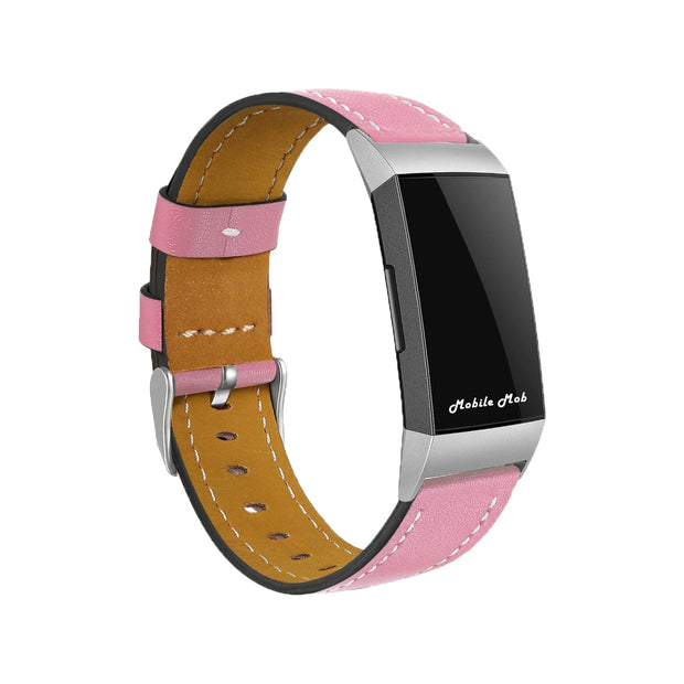 Mobile Mob Leather Fitbit Charge 3 Band Replacement Strap with Stainless Buckle Pink