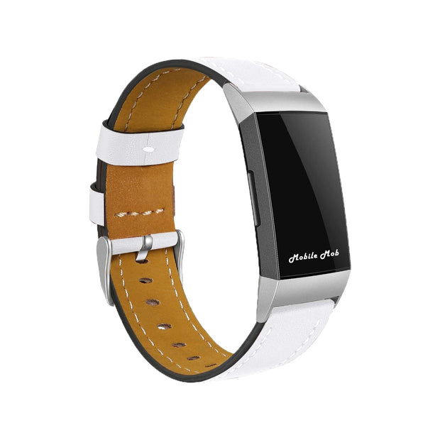 Mobile Mob Leather Fitbit Charge 3 Band Replacement Strap with Stainless Buckle White