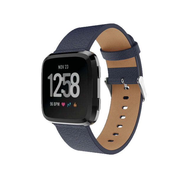 Mobile Mob Leather Fitbit Versa & 2 Band Replacement Strap with Buckle Navy Blue