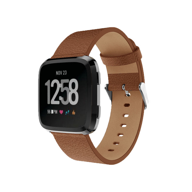 Mobile Mob Leather Fitbit Versa & 2 Band Replacement Strap with Buckle Brown