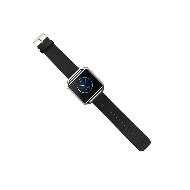 Mobile Mob Leather Fitbit Blaze Band Replacement Strap With Stainless Buckle Black