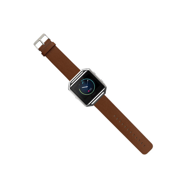 Mobile Mob Leather Fitbit Blaze Band Replacement Strap With Stainless Buckle Brown