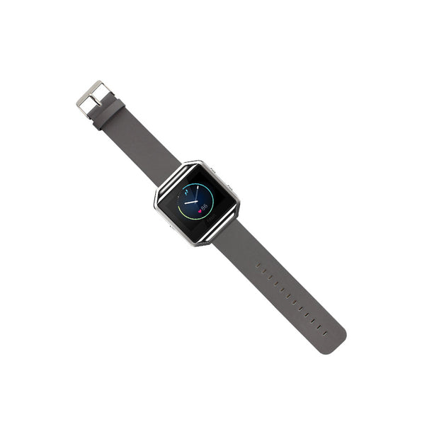 Mobile Mob Leather Fitbit Blaze Band Replacement Strap With Stainless Buckle Grey