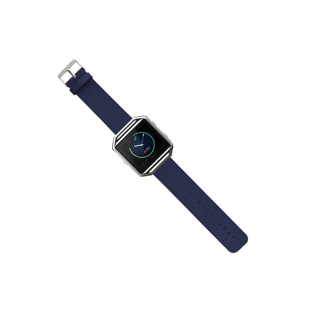 Mobile Mob Leather Fitbit Blaze Band Replacement Strap With Stainless Buckle Blue