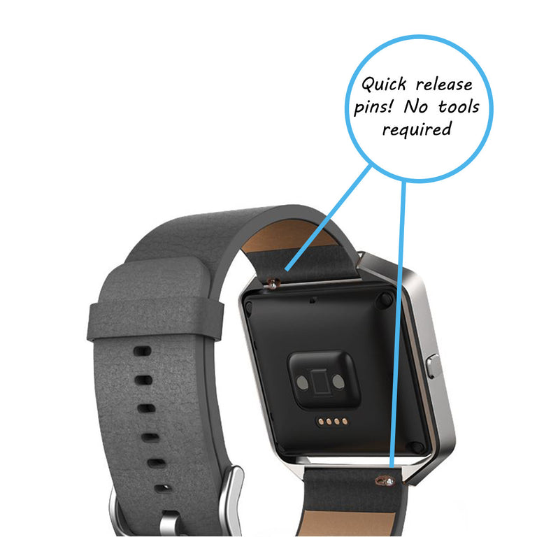 Fitbit Blaze Band Leather Strap Replacement With Stainless Buckle
