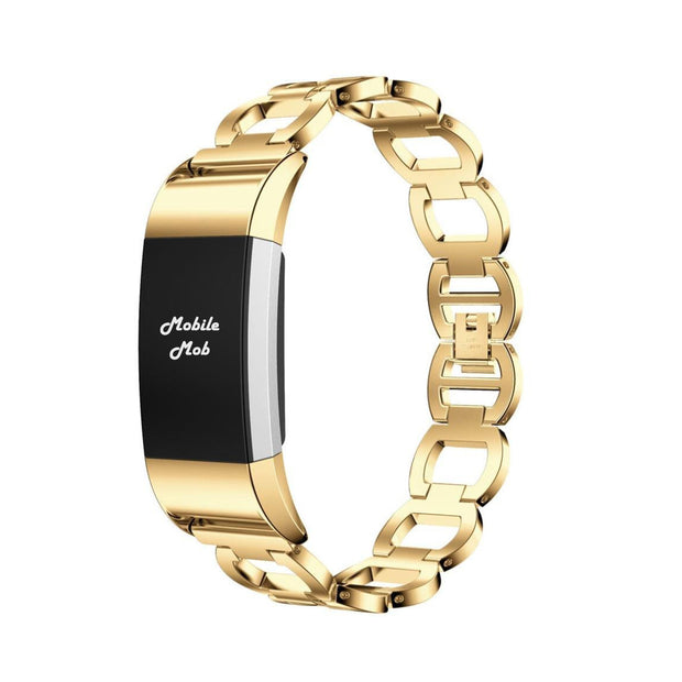 Mobile Mob Luxe Designer Stainless Fitbit Charge 2 Replacement Band Classic Gold