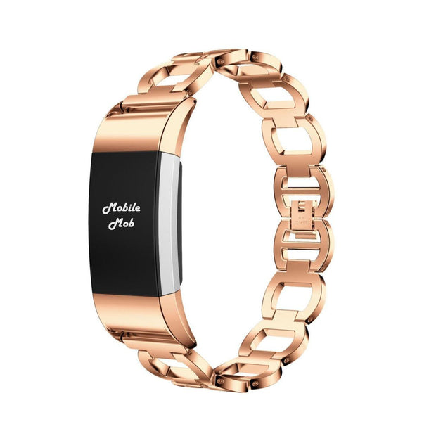 Mobile Mob Luxe Designer Stainless Fitbit Charge 2 Replacement Band Rose Gold