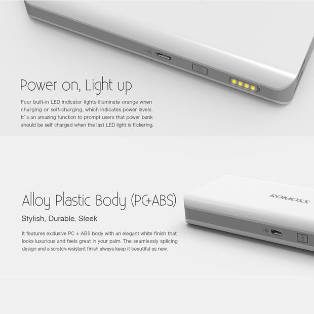 Romoss Solo 5 External Portable Mobile Power Bank USB Charger 10000mAh