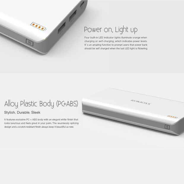 Romoss Polymos 20 Portable Mobile Phone Charger Power Bank 20000mAh