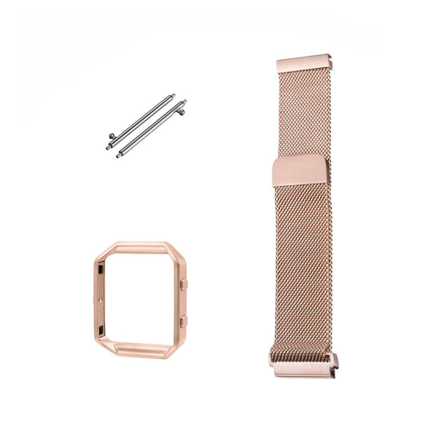 Mobile Mob Milanese Fitbit Blaze Band Replacement Magnetic Lock With Frame Rose Gold
