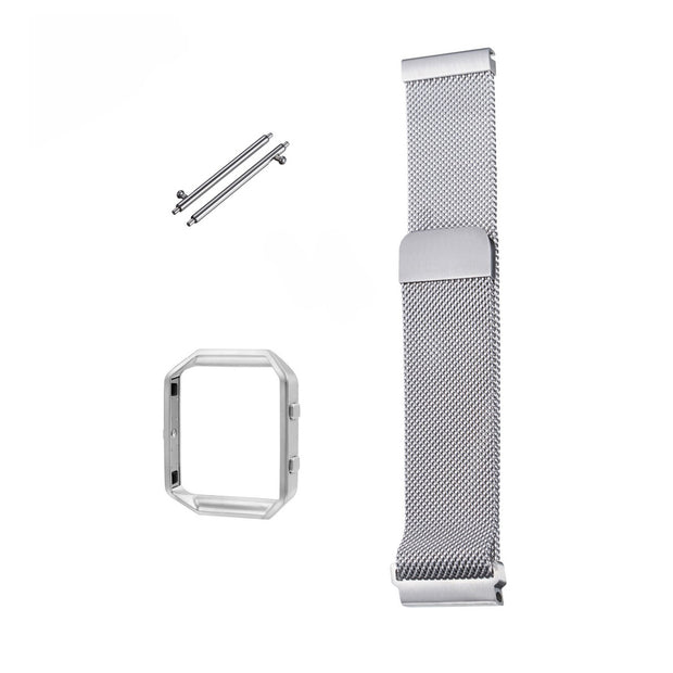 Mobile Mob Milanese Fitbit Blaze Band Replacement Magnetic Lock With Frame Silver Steel