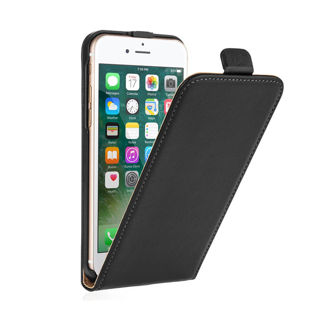Vertical Flip Genuine Leather Cover For Apple iPhone 5/6/7 & Plus