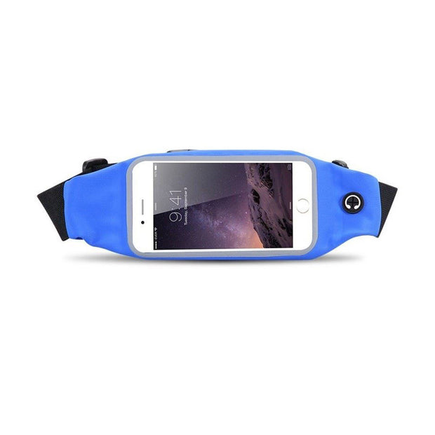 Mobile Mob Gym Running Belt Waist Band Pouch Bum Bag For Apple iPhone 8 7 6 6s Plus Deep Blue