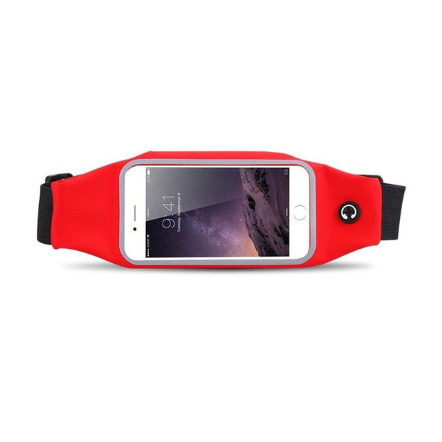 Mobile Mob Gym Running Training Waist Band Pouch Bum Bag Red