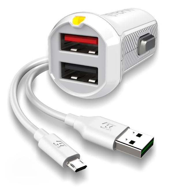 EFM Car Chgr 3.4A Dual USB Rapid Charge W/Reverse Micro USB Cable - White