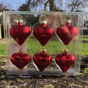 Matt/Shiny Red Glass Mini Heart, Box/6