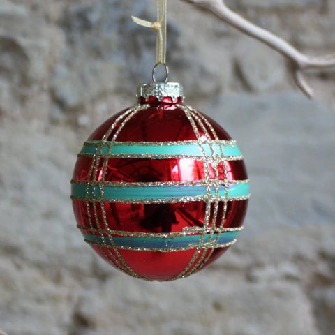 Glass bauble check with gold glitter line (box of 3)