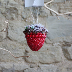 Small hanging Red Berry Acorn