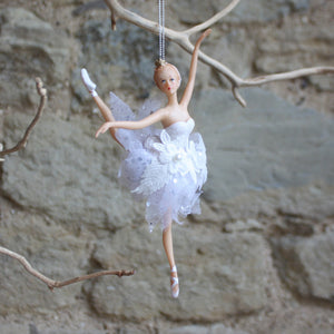 White Resin Swan Lake Ballerina