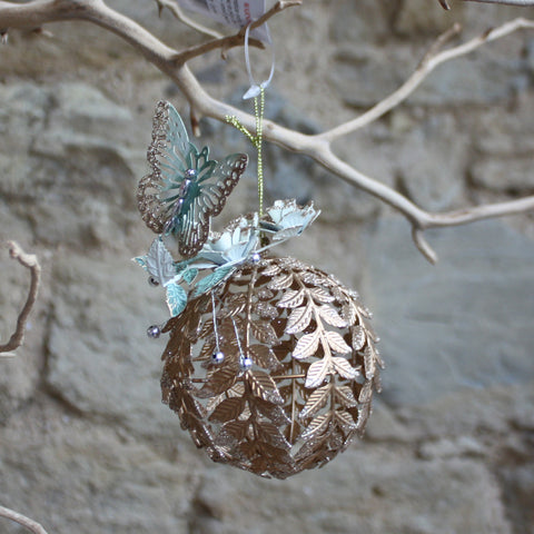 Wire Leaf and Butterfly Ball