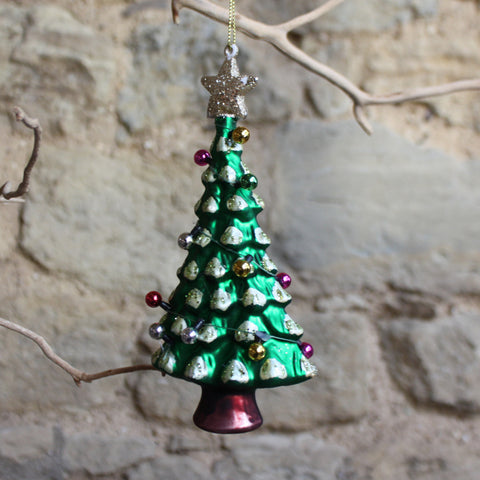 Painted Glass Christmas Tree