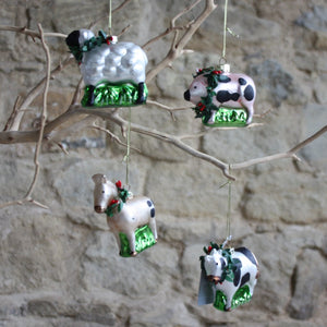 Painted Glass Farmyard Animals