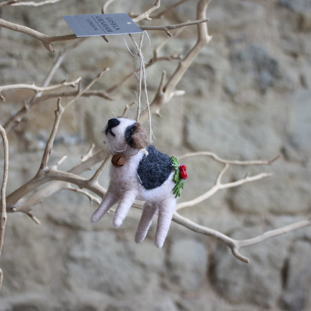 Wool Dog with Holly
