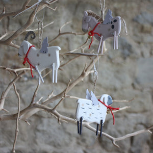 Wooden Farmyard Animals with Tin Wings