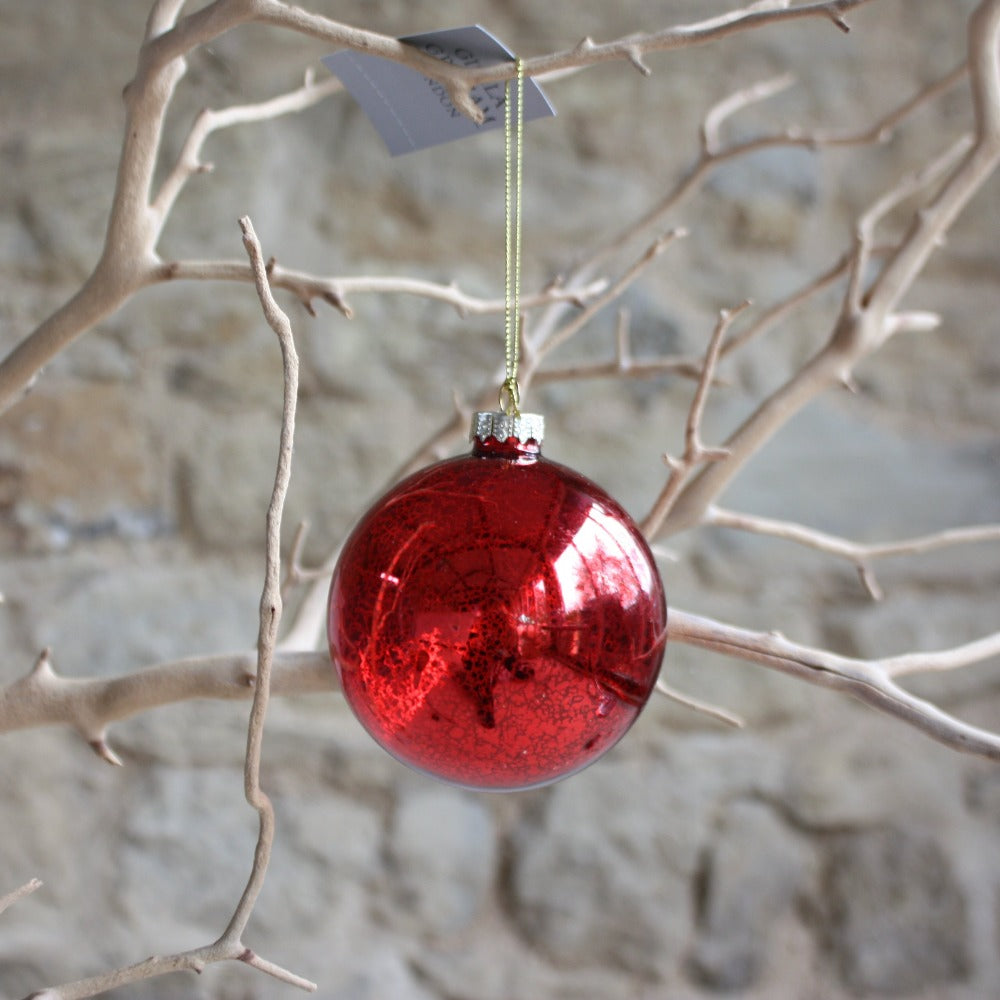 Clear Antique Red Bauble