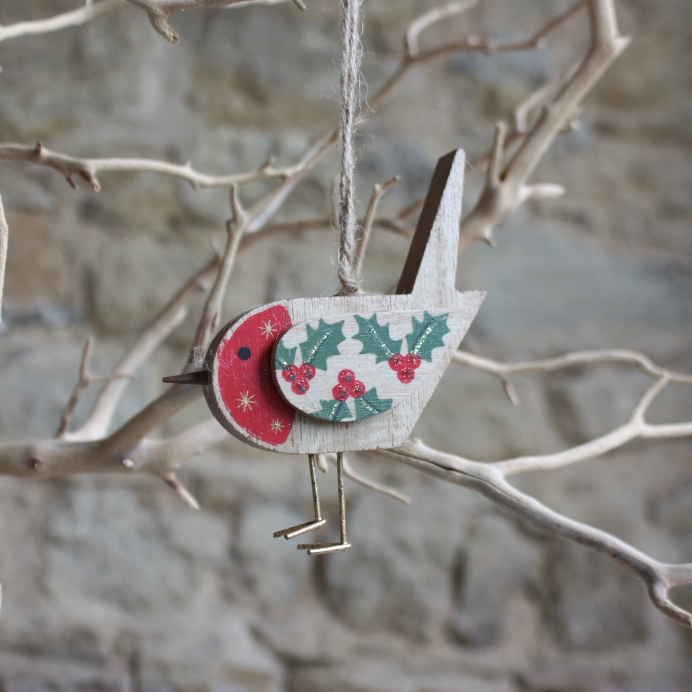 Wood Robin Decoration with Holly Pattern
