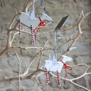 Wood Reindeer with Tin Wings