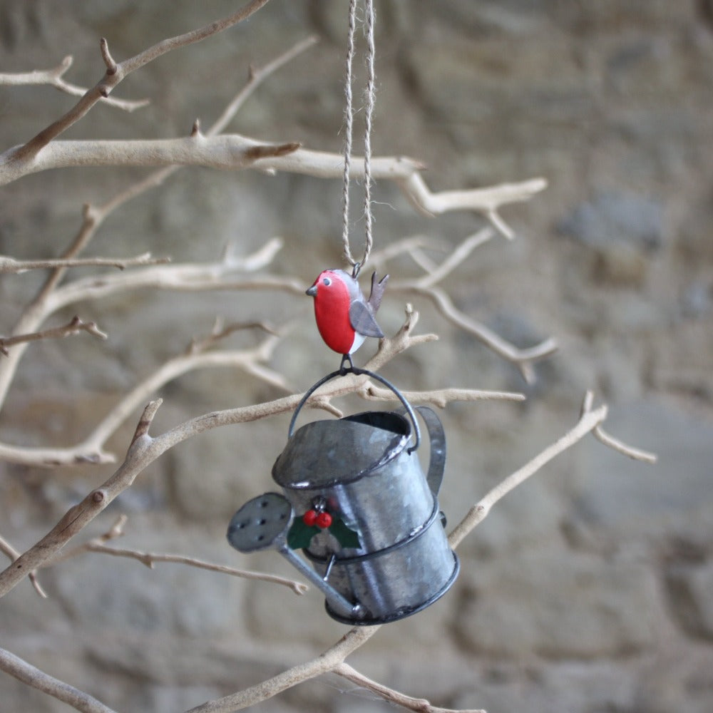 Tin Watering Can with Robin