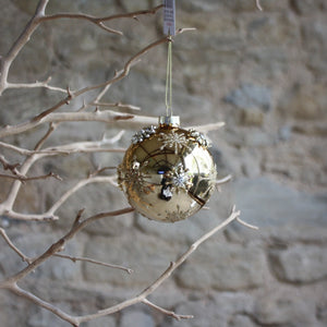 Gold Lacquered Glass Bauble with Raised Gold Stars