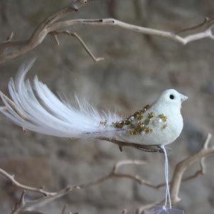 Cream Feather Bird with Gold Beads and Clip