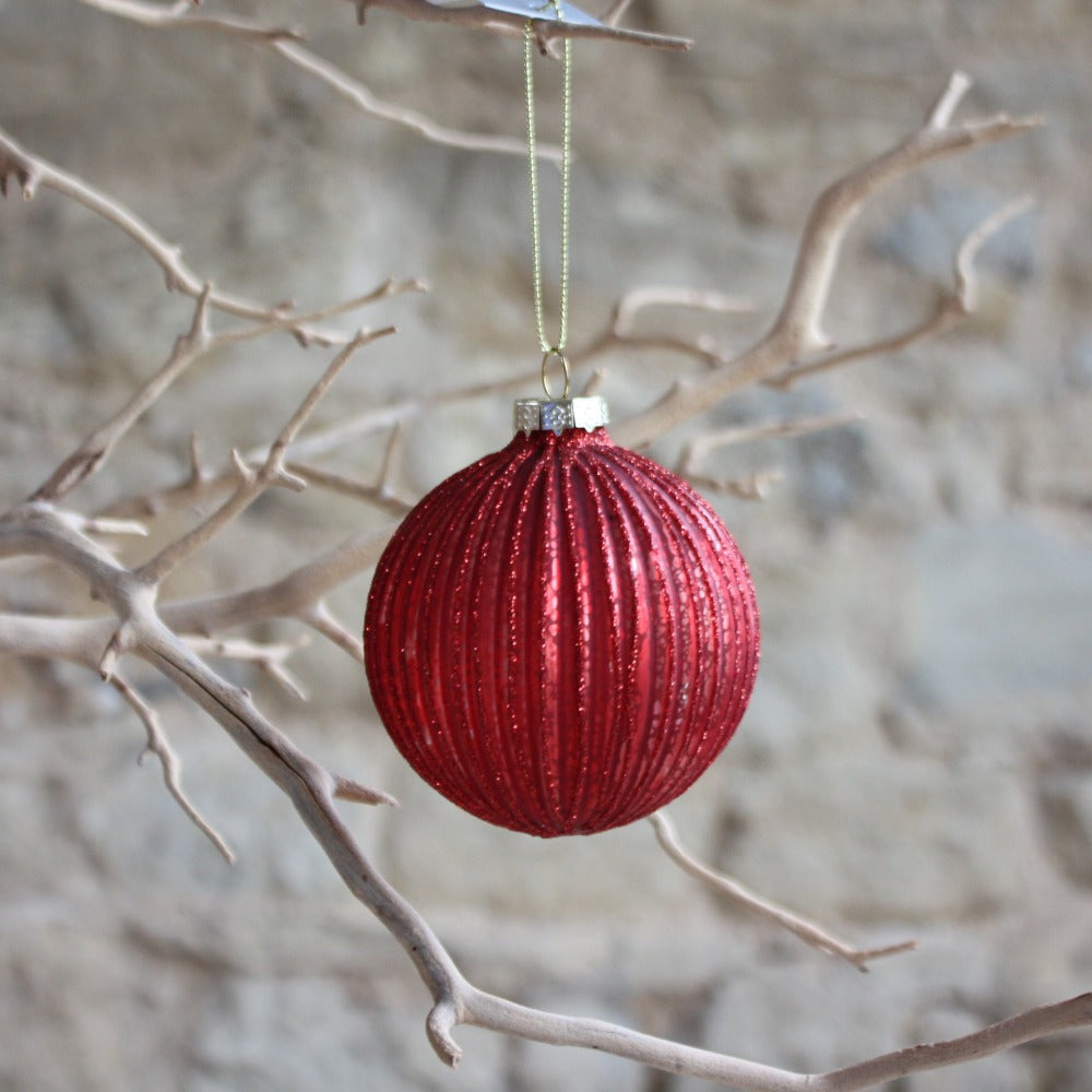 Red Glitter Ribbed Glass Bauble