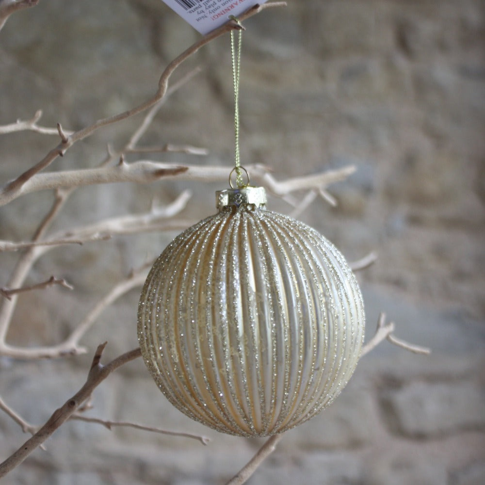 Ribbed Gold Glitter Bauble