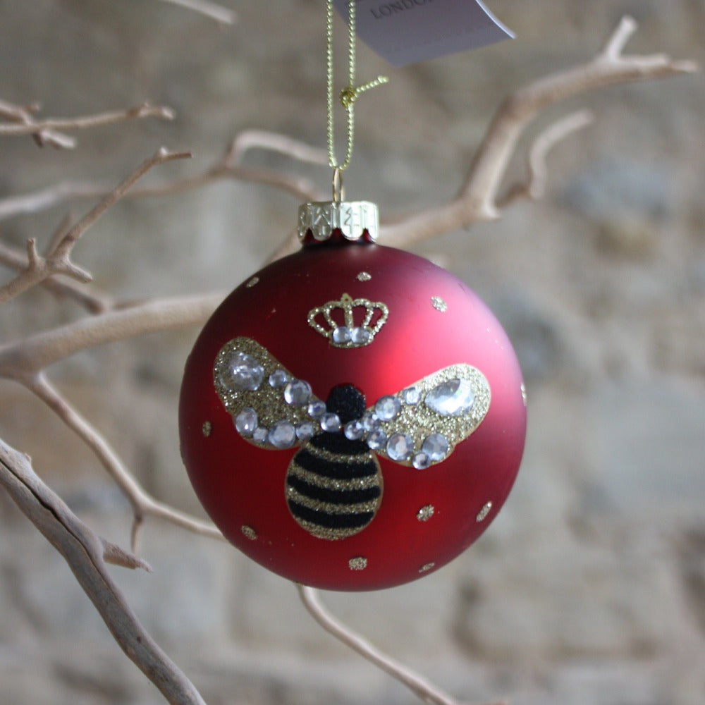 Bumble Bee Red Glass Bauble