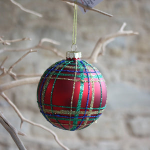 Red Tartan Glitter Glass Bauble