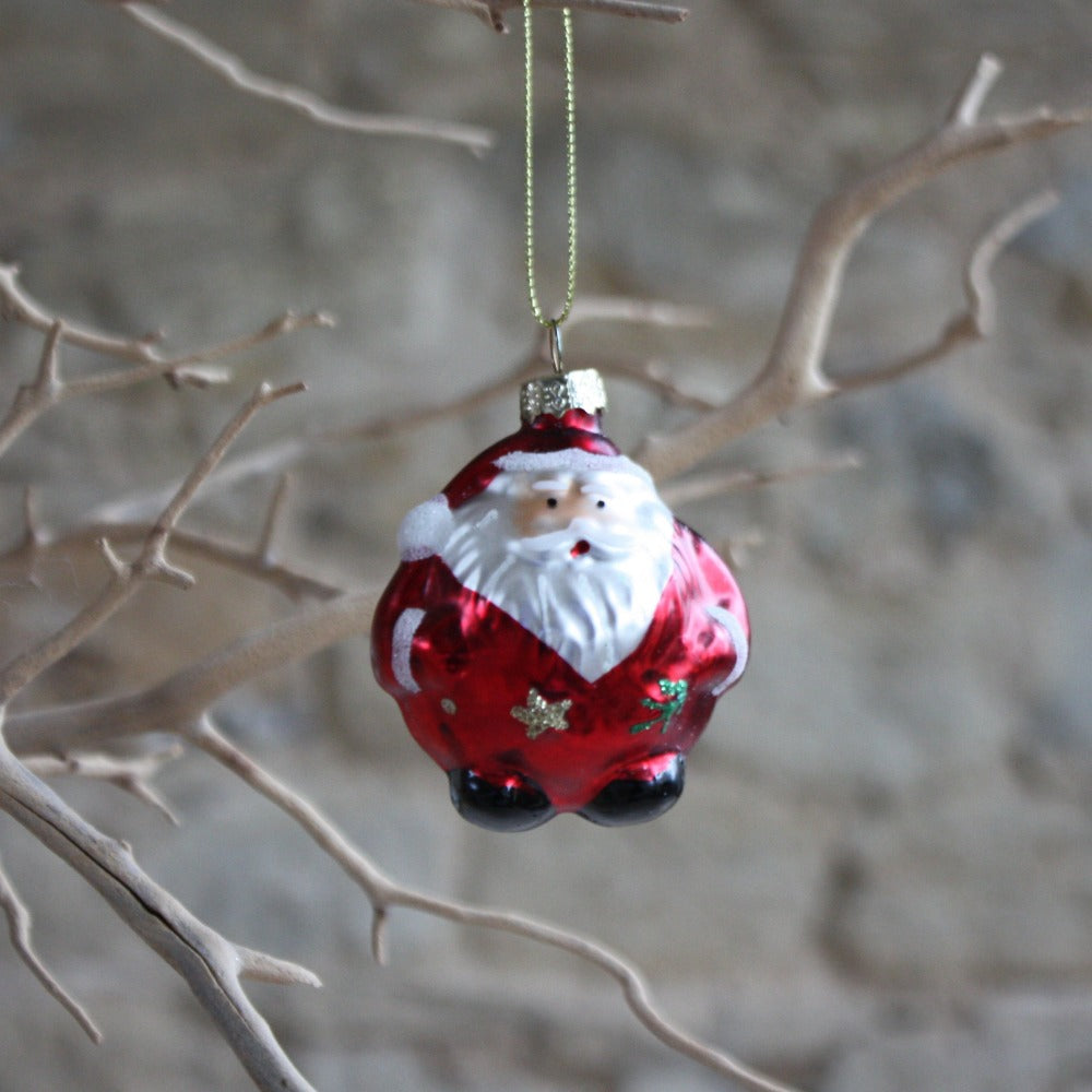 Round Glass Santa Bauble